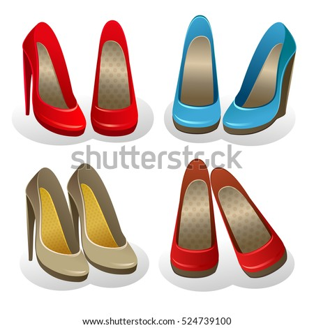 f905bfb716 Vector set of four pairs of elegant classic shoes for woman on white  background. Cartoon
