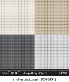 Vector set of four plaid/checked patterns in neutral colors. Can be used for scrap-booking, greeting cards, gift wrap, wallpapers, textiles or surface textures. See my portfolio for JPEG versions.