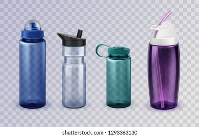 Vector set of four realistic variations of sports and fitness glass and plastic bottles for water on transparent background