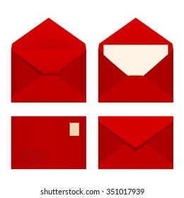 Vector set of four red envelopes.