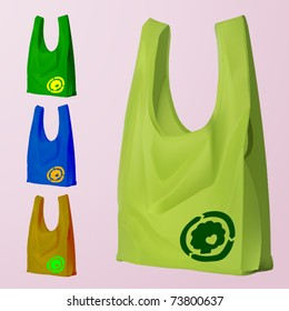 vector set of four reusable bags with a eco sign
