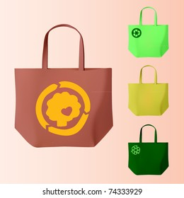 vector set of four reusable bags