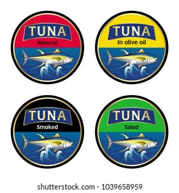 Vector set of four round labels for canned tuna