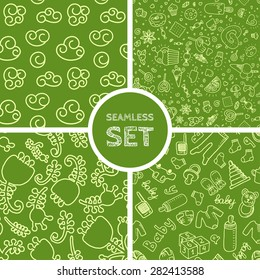 Vector set of four seamless backgrounds. Patterns for scrap-booking, fabric design. Eps10