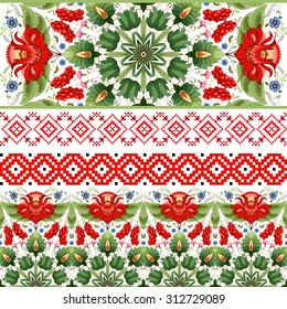 Vector set of four seamless borders. Style of Petrykivka painting and pattern similar to embroidery. Ukrainian ornament.