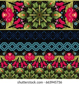 Vector set of four seamless borders. Dark backdrop. Style of Petrykivka painting and pattern similar to embroidery. Ukrainian ornament.