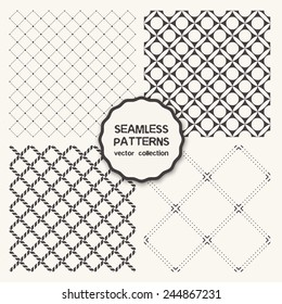 Vector set of four seamless patterns. Repeating geometric tiles with dotted squares, linear rhombuses, simple stylish backgrounds