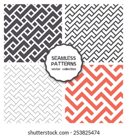 Vector set of four seamless patterns. Repeating geometric tiles with rectangular puzzles, linear grids, classical trellis and herringbone