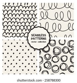 Vector set of four seamless patterns. Sketch backgrounds with waves, arches, rings and polka dots. Hand drawn hipster prints with doodles. Modern graphic design.