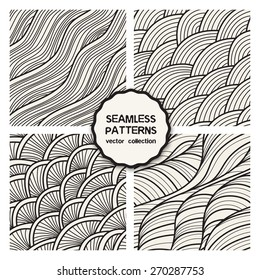 Vector set of four seamless patterns. Stylish tileable swatches. Monochrome hipster prints, backgrounds with linear doodles, scales, diagonal waves, hand drawn graphics made with graphics tablet