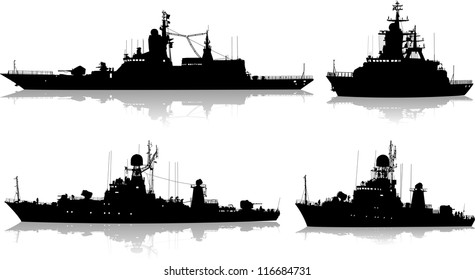 Vector set of four silhouettes of the military ship on a white background