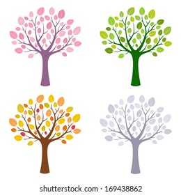 A vector set of four stylized tree for every season - spring, summer, autumn and winter.