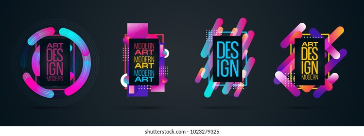 Vector set frame for text Modern Art graphics for hipsters .dynamic frame stylish geometric colorful 80s-style kitsch. element for design business cards, invitations, gift cards, flyers and brochures.