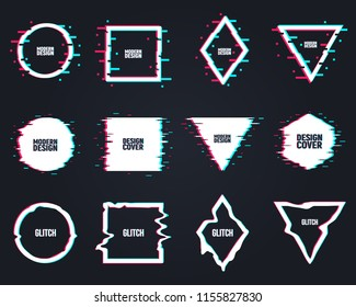 Vector set of frames in distorted glitch style. Circle, square, triangle, rhombus in distorted glitch style. Modern trendy backgrounds for design banner, poster, cover