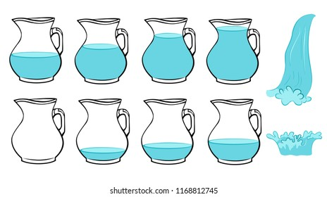 Vector set of frames  full and poor jug, splash water and pouring