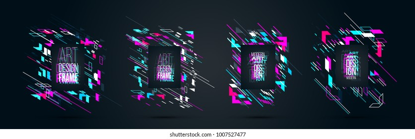 vector set of frames with glitch effect perfect disorder. hipster rectangular frames dynamic stripes modern design. design business cards, invitations, gift cards, flyers brochures.