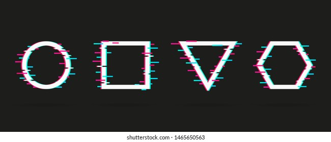 Vector set of frames with glitch effect. Modern trendy backgrounds for design banner, poster, cover