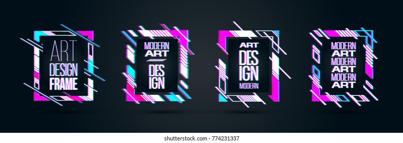 vector set of frames with glitch effect. hipster rectangular frames dynamic stripes modern design. design business cards, invitations, gift cards, flyers brochures.