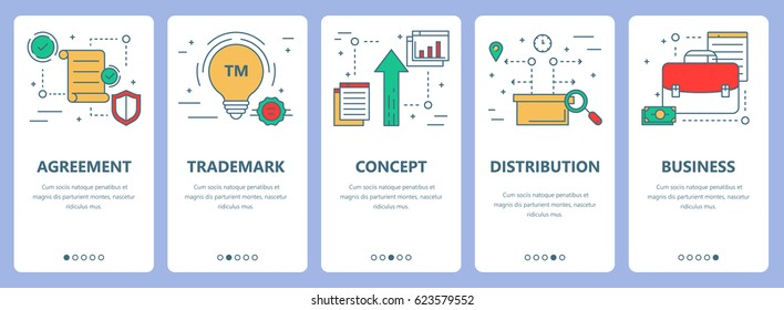 Vector set of franchise concept vertical banners. Agreement, trademark, concept, distribution and business concept elements. Thin line flat design symbols, icons for website menu, print.