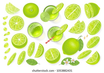 Vector set. Fresh lime and lime juice. Top view. Lime sliced in various pieces, juice in glasses, leaves, flowers, grains, drops. View from above.