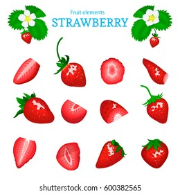 Vector set of a fresh red strawberry. Berry cut, piece of half slice leaves, flower. Collection of ripe strawberry fruits for packaging design of juice, breakfast, jam label, ice cream, smoothies