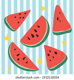 vector set of fresh watermelons drawn by hand. Isolated watermelon slices, clip art, vector illustration.