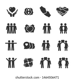 Vector set of friendship and love icons.