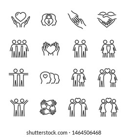 Vector set of friendship and love line icons.