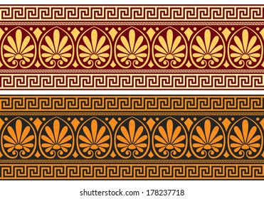 Vector set frieze with vintage golden and blue Greek ornament (Meander) and floral pattern
