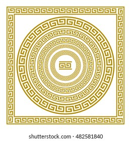 Vector set frieze with vintage golden Greek ornament Meander pattern greece