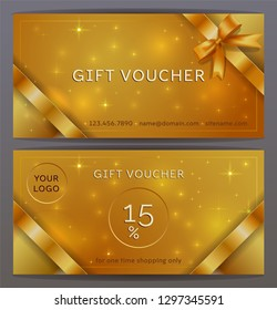 Vector set of front and back sides of luxury gift voucher with Bronze, copper ribbons, bows. Isolated Elegant sparkling, shining template for holiday gift card, coupon and certificate. Place for logo