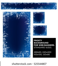 Vector set frosty background for web banners. standard sizes. New Year background. Frosted glass texture. Frosted widow.