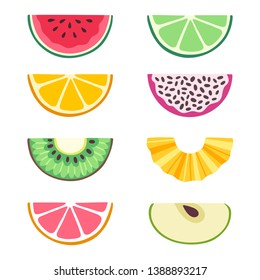 Vector set of fruit slices: watermelon, lime, orange, dragon fruit, kiwi, pineapple, grapefruit, apple. Collection of summer food. Fresh fruits are isolated on white. Bright stickers for scrapbooking.