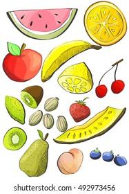 Vector set of fruits.