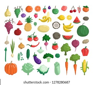 Vector set with fruits, vegetables, berries. Flat style doodles on the theme of organic, vegetarian food. Sketches for use in design