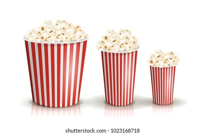 Vector set of full red-and-white striped popcorn buckets in different sizes. Realistic illustration. Big, middle, small portions of popcorn. Cardboard or paper buckets. Cinema snack or movie food.