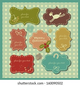 Vector set with a fun horse, viburnum, horseshoe and bows.