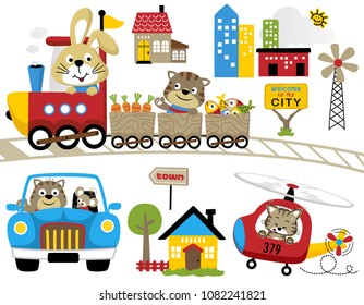 Vector set of fun travel with funny animals