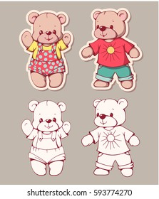 Vector set of  funny cartoon bears, isolated from a background. Monochrome and color version. Hand-drawn illustration.
