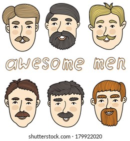 Vector set with funny cartoon characters. Hand drawing cute men with mustaches