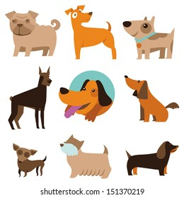 Vector set of funny cartoon dogs - illustration in flat style