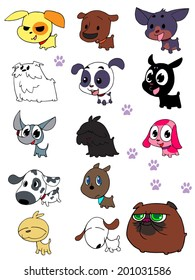 Vector set of funny cartoon dogs - illustration in cute style
