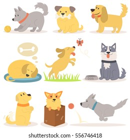 Vector set of funny cartoon dogs characters illustration.