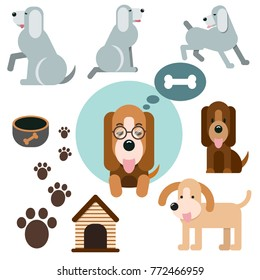 Vector set of funny cartoon dogs and objects - illustration in flat style