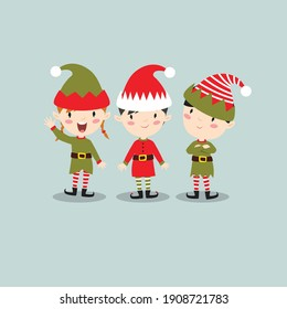 Vector set of funny cartoon elves. Little people. Santa's helpers.