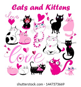 Vector set of funny cartoon kittens and cats with hearts on a white background. Patterns of cats for holiday cards, banners and posters.