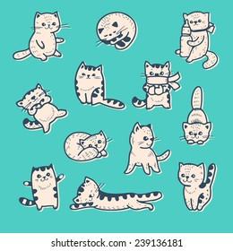 Vector set - funny cartoon kittens.