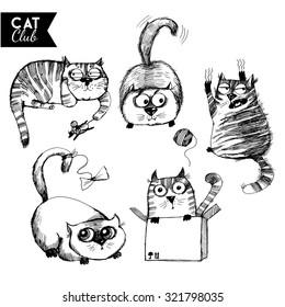 vector set of funny cat character