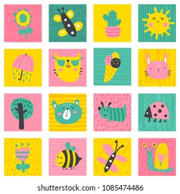 vector set of funny children cards with cute characters