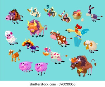 Vector set of funny cute cartoon farm animals. Big angry herd of Wild West